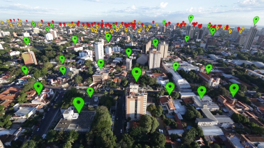 """Fundación Paraguaya is able to plot their clients on a Google map using the """"Poverty Stoplight"""" and then identify where the """"hot spots"""" are. Photo courtesy of Fundación Paraguaya."""